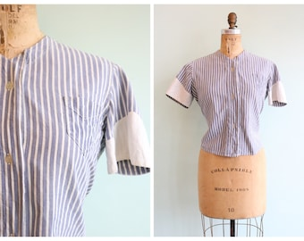 Vintage 1930's Chambray Linen Striped Blouse | Size Small