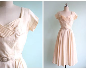 RESERVED || Vintage 1950's Buttercream Silk Dress | Size Small