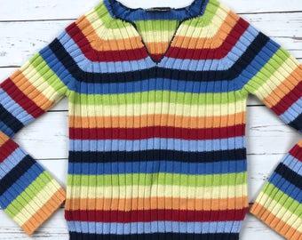 Vtg No Boundaries Striped Rainbow Clubkid Knit Sweater Top Y2K S/M