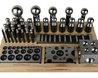 Steel Classic Dapping Set w/ Forming Block Plate and Punches Jewelry Making Repair Metal Forming Tool - FORM-0129