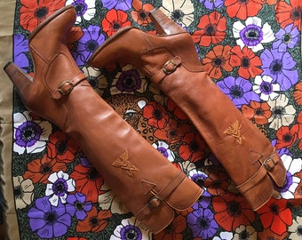 70s Knee High Leather Boots/ Size 7.5