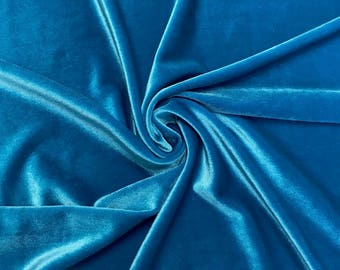 Turquoise Stretch Velvet Fabric 60'' Wide by the Yard for Sewing Apparel Costumes Craft