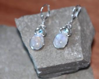 Beautiful Silver And Moonstone Drop Earrings SKU1447