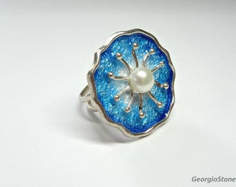 Blue and Silver Flower Ring, Natural Pearl, Fine Silver 985, Adjustable Size, Handmade in Greece