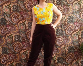 On Sale 80s 90s Laura Ashley Trousers • Vintage brown velevt velours trousers pants • High Waist straight leg Trousers • medium