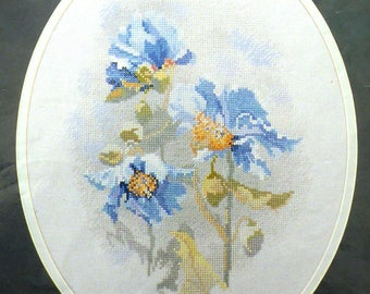 Blue Himalayan Poppy Counted Cross Stitch Chart – Blue Wild Poppies – Floral Cross Stitch – Needlepoise Poppies PPY01