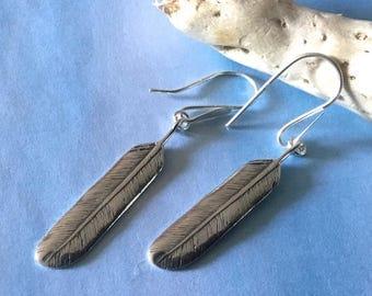 Feather Earrings Sterling Silver Lightweight Earwire Earrings.