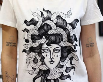 medusa t-shirt, women's shirt, snake shirt, Greek Mythology T SHIRT, tattoo tshirt, Serpent Haired Monster T SHIRT  steampunk clothing