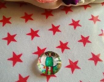 12 mm - nice Ref OWL polka dot glass cabochon