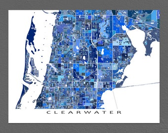 Clearwater Map Print, Clearwater Florida City Art Poster, USA