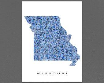 Missouri Map Print, Missouri State Art, MO Wall Poster