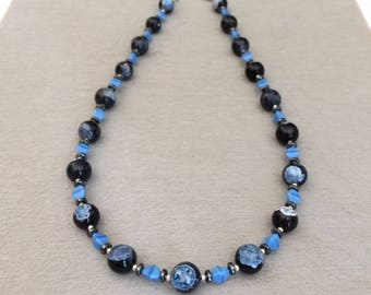 Black Blue Agate Necklace Agate Bead Necklace Agate Jewelry Beaded Gemstone Necklace Birthday Valentines Day Gift For Her Gift For Wife Mom