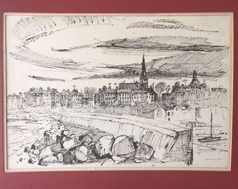 An Original A. Brockie Stevenson Signed Pen & Ink Of Dunleary, Dublin Ireland