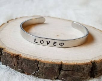 LOVE Stamped Metal Bangle Bracelet