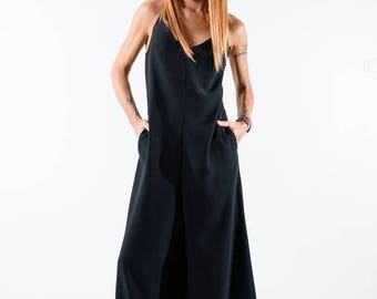 ON SALE Black ASYMMETRIC maxi Jumpsuit /Black Long jumpsuit  / Black romper / Black maxi jumpsuit /Open back jumper / Elegant sexy jumpsuit