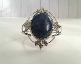Lapis and Silver-tone Cuff Bracelet