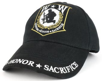 Wounded Warrior heroism Honor Sacrifice Embroidered Structured Baseball Cap (EE-CP00521)