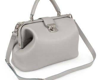 Leather Top Handle Bag, Gray Leather Handbag Top Handle, Women's Leather Bag KF-1206