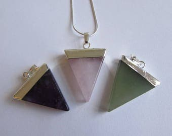 Rose Quartz Amethyst Green Aventurine Gemstone Triangle Shape Necklace Free UK shipping Gift boxed + Handmade Gift bag Free UK shipping T1