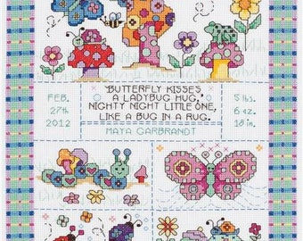 Bug in a Rug Completed Cross Stitch, Baby announcement cross stitch, baby gift, completed cross stitch
