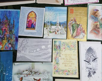 1940's to 1980's Vintage Religious Theme Christmas card Collection # 13