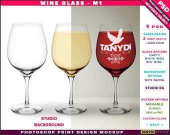Wine Glass M-1 | Empty, White & Red Wine | Photoshop Print Mockup | Front view Glass on Studio Background | Smart object Custom colors