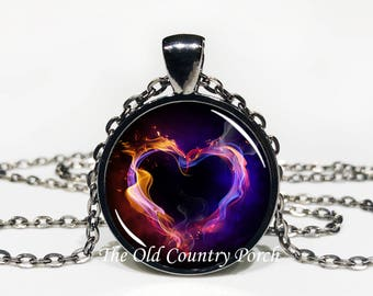 Fire Heart-Glass Pendant Necklace/Graduation gift/mothers day/bridal gift/Easter gift/Gift for her/girlfriend gift/friend gift/Valentines