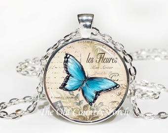 Blue Butterfly French Script-Glass Pendant Necklace/Graduation gift/mothers day/bridal gift/Easter gift/Gift for her/girlfriend gift/friend