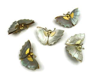 Mother of Pearl Butterfly Pin Lot