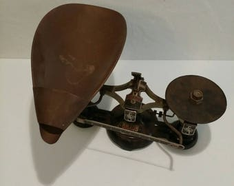 Antique Ohaus powder scale with tray and weights