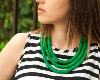 Green necklace, Contemporary beaded necklace, Layered necklace