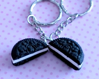 Bff Oreo Cookie Keychains - Miniature Food Jewelry - Inedible Jewelry - Best Friends Jewelry - Bff Keychains - Kid's Jewelry, Oreo Cookies