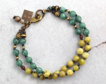 Rustic yellow turquoise bracelet for women, Chartreuse jewelry with stones, Multi strand teal jade, Earthy gift for boho sister