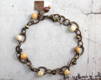 Crazy lace agate bracelet with chain and gemstones, Oxidized brass jewelry with natural stones, Present for cowgirls, Simple gift for friend