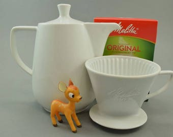 Traditional large Melitta coffee pot coffee jug and coffee filter, 102, Mid Century Germany, retro Kitchen, white
