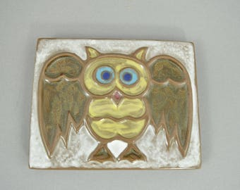 Vintage wall plate, studio pottery, owl, West German Pottery