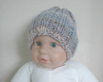 Chunky hat girl hand knit hat gray blue orange brown kids hat size 1 - 1.5 yrs warm unique winter hat knit multi color baby hat toddler hat