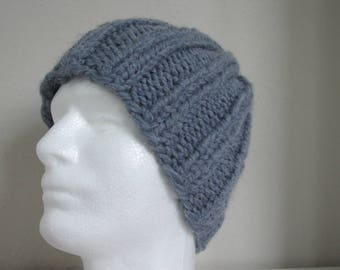 Hand knit hat jeans blue adult medium, warm comfortable winter hat knit in round thick alpaca acrylic blue gray men women chunky knit hat