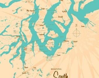 South Puget Sound, WA Map - Canvas Print