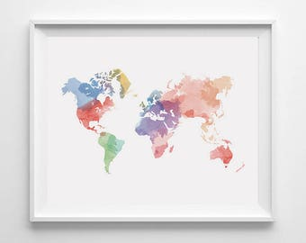 Map of the world art print 16x23 original watercolor painting watercolor world map etsy watercolor world map poster gumiabroncs Gallery