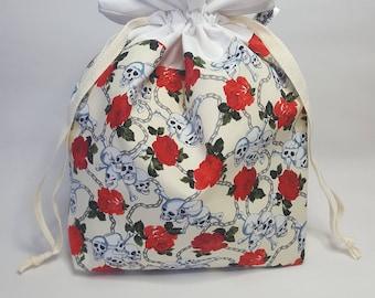 "Medium Lined DRAWSTRING Bag, SKULLS, #89, 13""x8""x4"", project bag, storage bag"