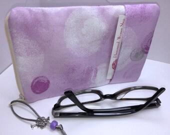 WIDE Eyeglass Case, Lavender ROOMY Eyeglasses Case, WIDE Zip Top Glasses Pouch, Sunglasses Pouch, Soft Glasses Case