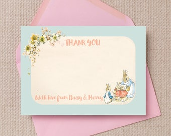 Personalised Flopsy Bunnies Beatrix Potter Kids Thank You Note Cards