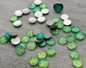 ab mint green 6mm titanium faux druzy Cabochons 10pcs