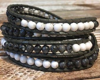 Chan Luu Bracelet / Crystal Jewelry / gray Wrap Bracelet / Healing Crystal Bracelet / Chakra Bracelet