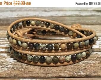 SALE Leather Wrap Bracelet / Chan Luu Style Wrap Bracelet / Healing Crystal Bracelet / Chakra Bracelet