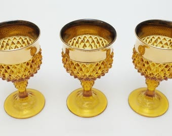 Indiana Amber diamond point glass - golden elegance 70s vintage 24k cups, gold