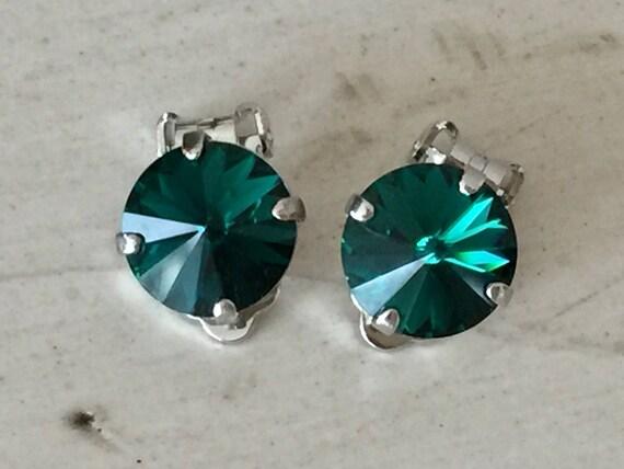 Emerald Crystal Clip On Earrings, Silver
