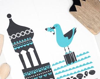 Brighton Tea Towel, Retro Seaside Screenprinted Teatowel, Seagull Quirky Cotton Dish Cloth, Scandinavian Design, Kitchen Housewarming Gift