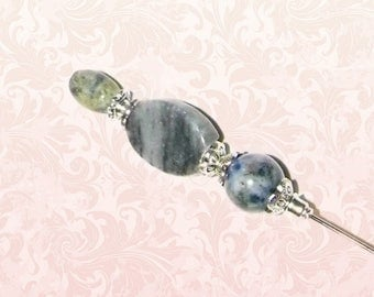 Hat Pin Gray Marble Victorian Edwardian Vintage Style Glass Antique 6 Inch Steampunk Stick Lapel Pin With Protector